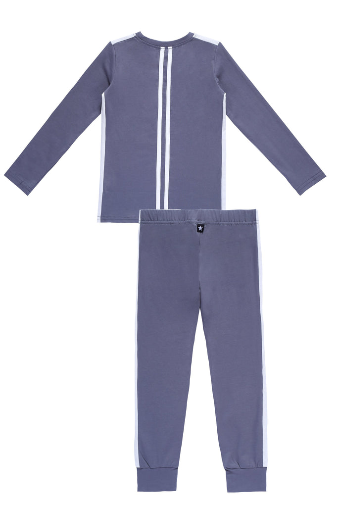 Basic Long Sleeve Pajamas in Blue