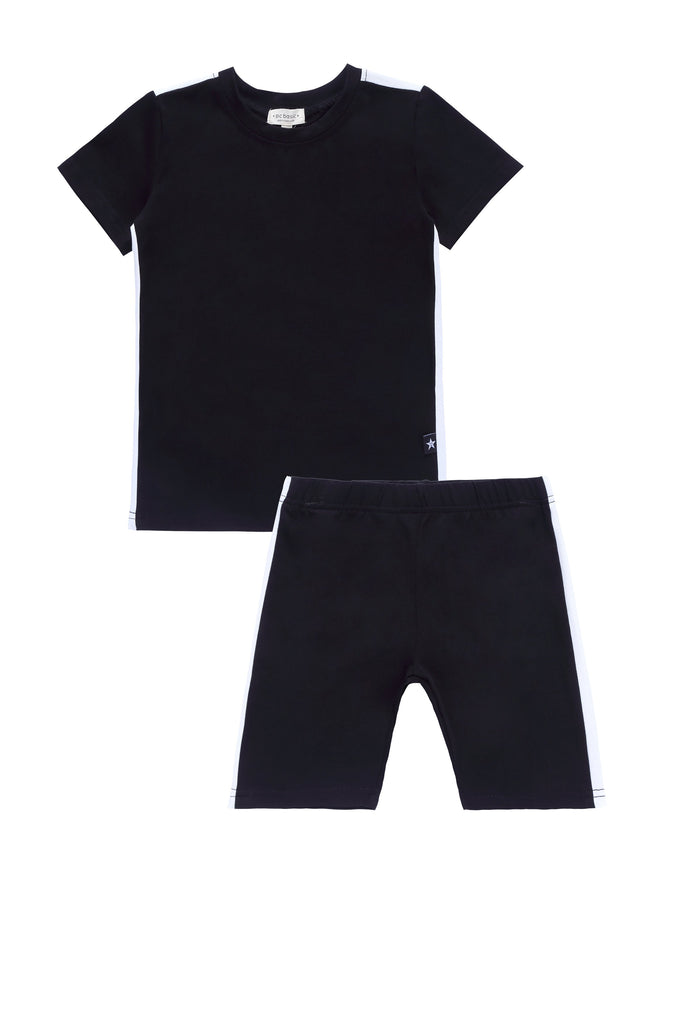 Basic Short Sleeve Pajamas in Black
