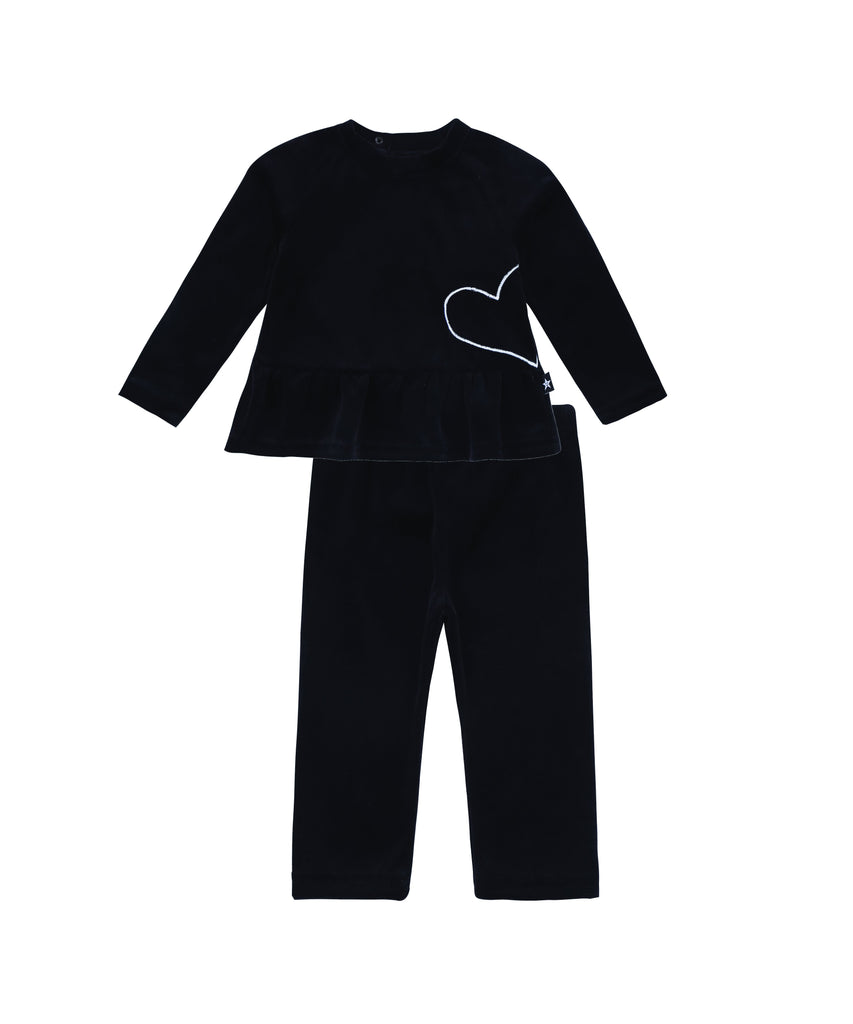 Baby Velour Sweatshirt set in Black