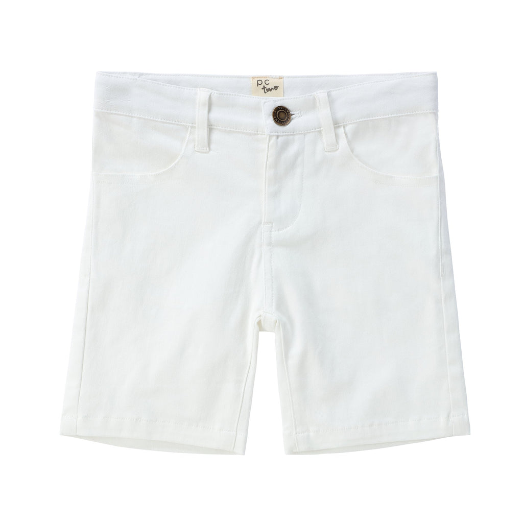 Boys White Denim Shorts