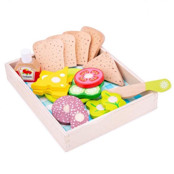 New Classic Toys Snijset Lunchbox Junior 24,5 Cm Hout 18-Delig