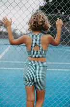 Load image into Gallery viewer, gingham check bike short tights and crop top for kids tween girls