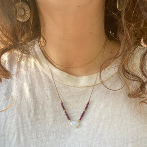moonstone lover necklace (ruby)