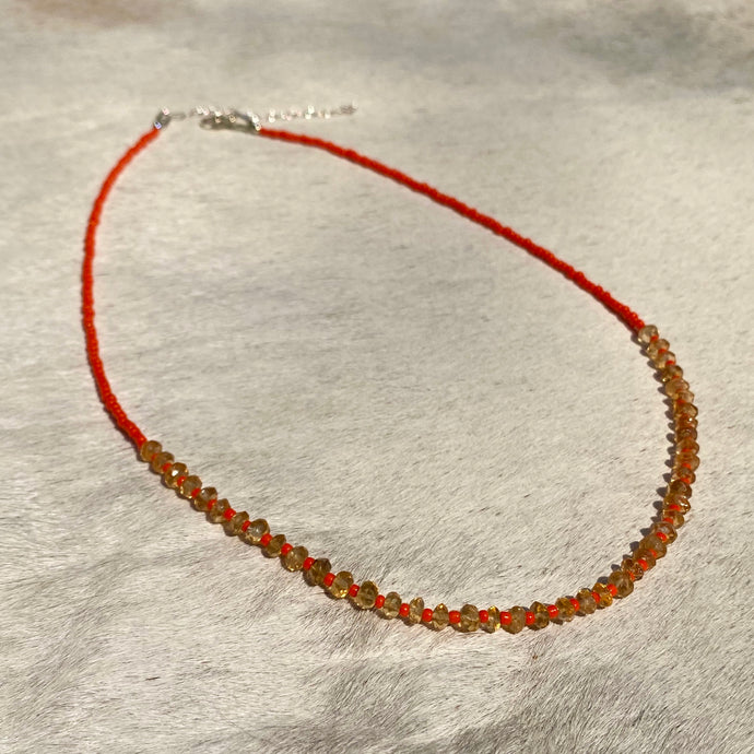 citrine candy necklace (red/orange)