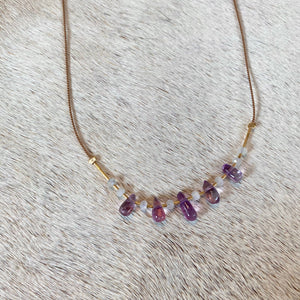 sayulita necklace (amethyst + moonstone)