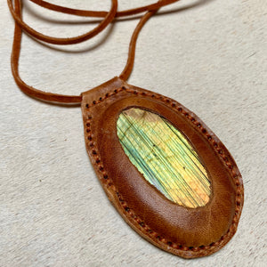labradorite horizon necklace (brown)