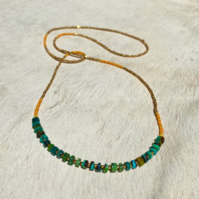 turquoise summer necklace (golden)
