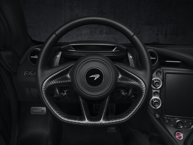 720S Carbon Fiber Steering Wheel with Extended Shift Paddles