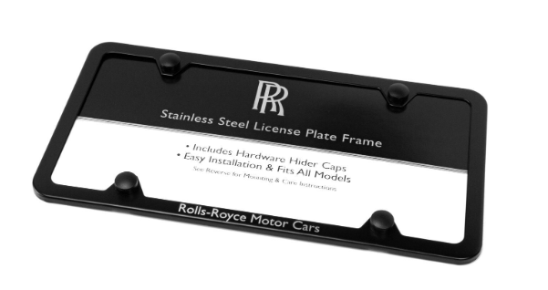 Rolls-Royce Black Powder-Coated Stainless Steel Slim-Line Plate Frame