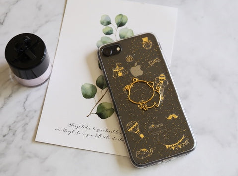 Cute golden piggy inner sealed pattern iPhone case