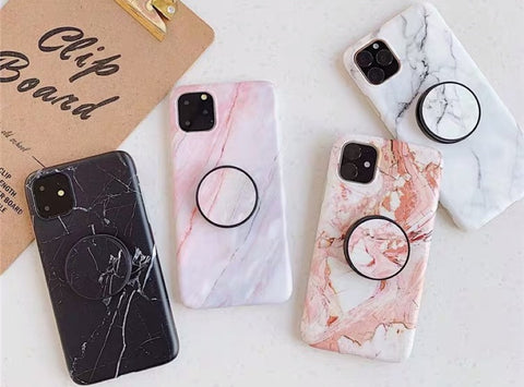casealpha - Elegant Marble pattern Silicone iPhone case (Collapsible Grip optional) - CaseAlpha - Phone Case / Silicone