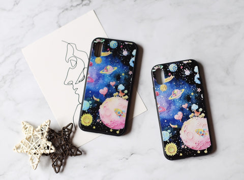 casealpha - Lovely cartoon pattern color galaxy space iPhone case - CaseAlpha - Phone Case / Tempered Glass