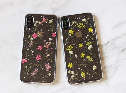 Pretty sealed little real flowers iPhone case