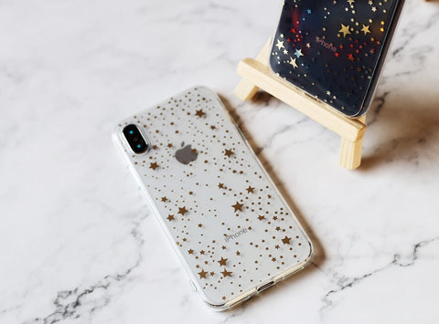 Magic color changing golden stars silicone iPhone case