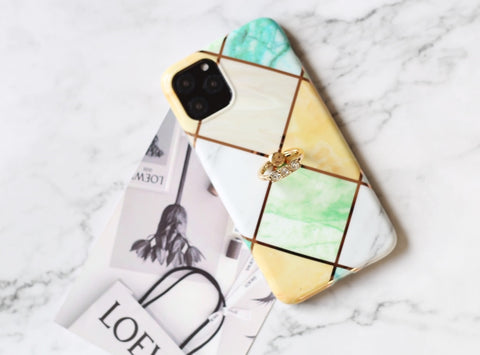 Square marble pattern iPhone case Samsung Phone case with holding ring