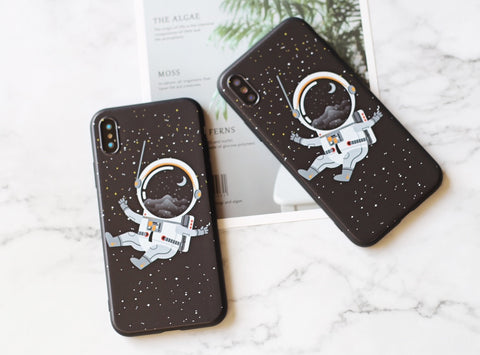 Adorable cartoon floating astronaut silicone iPhone case