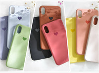 Premium quality love heart pattern solid color iPhone case