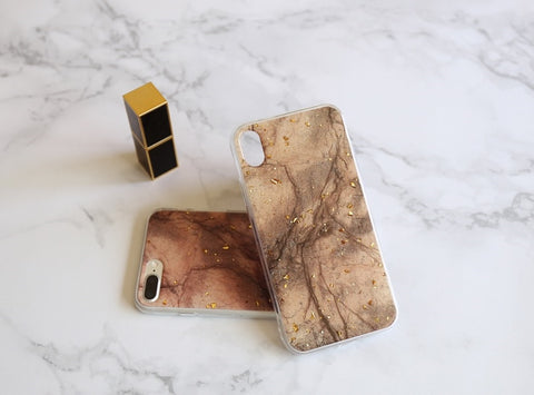 casealpha - Elegant golden grains decor brown marble pattern iPhone Case - CaseAlpha - Phone Case / Silicone