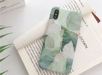 Fresh green leaves pattern silk texture surface iPhone case