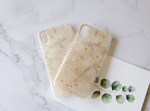 casealpha - Pretty golden grains decor beige marble pattern silicone iPhone Case - CaseAlpha - Phone Case / Silicone