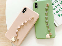 Solid color iPhone case with lovely heart shape bracelet