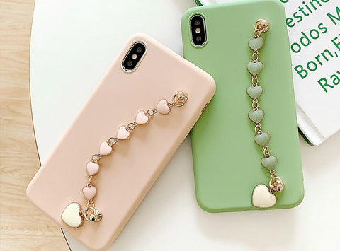 casealpha - Solid color iPhone case with lovely heart shape bracelet - CaseAlpha - Phone Case / Silicone