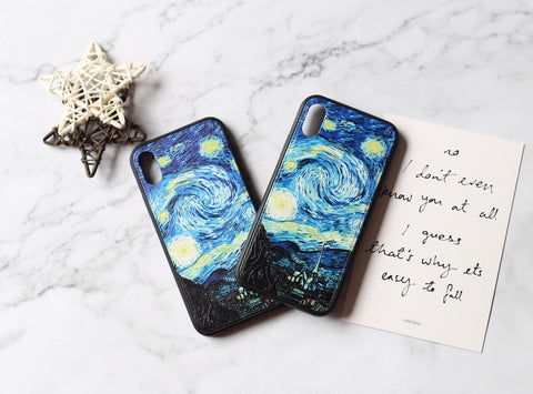 casealpha - Van gogh painting starry sky relief pattern iPhone case - CaseAlpha - Phone Case / Silicone