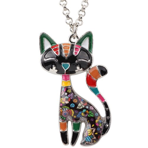 Siamese Cat Statement Pendant Necklace