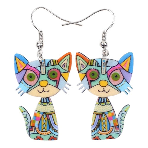 Abstract Colorful Kitten Earrings