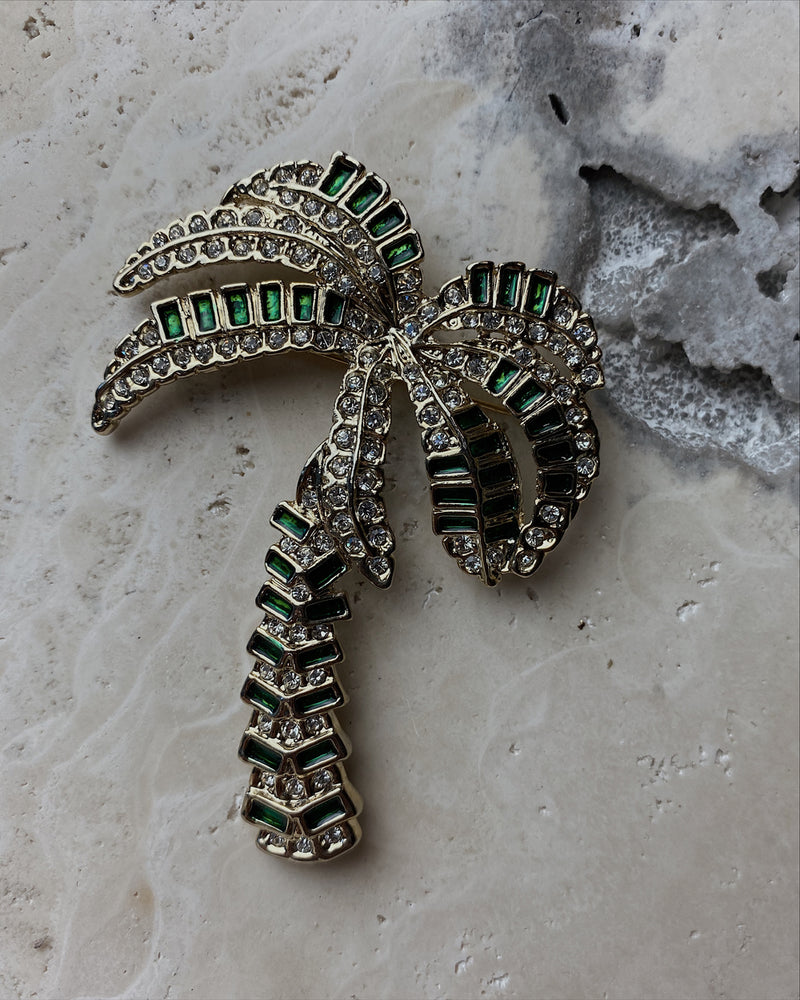 Green Enamel Palm Tree Brooch