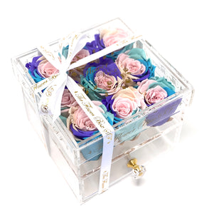 SALE Crystal Flower Box with Drawer - Gold