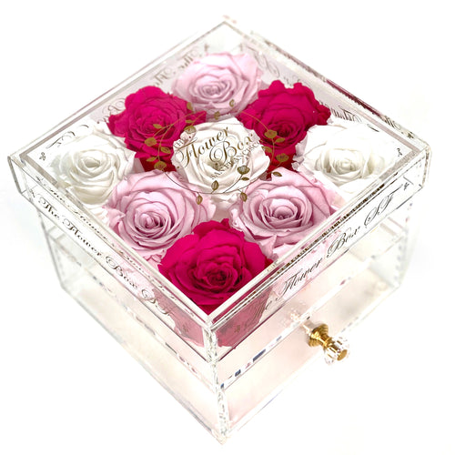 Crystal Flower Box with Drawer - Gold