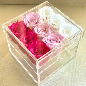 Crystal Flower Box with Drawer - No Handle