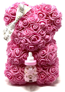 Forever Flower Baby Bear with Bottle