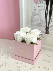 Pearl Pink Flower Box - 4 Roses