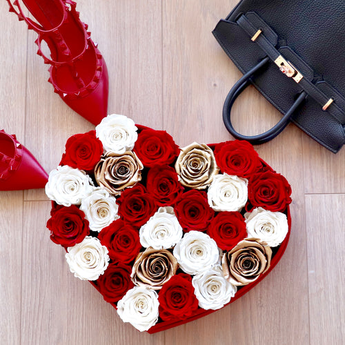 Red Heart Suede Flower Box