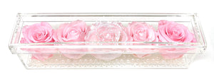 Crystal Flower Box with Pearls - 5 Roses