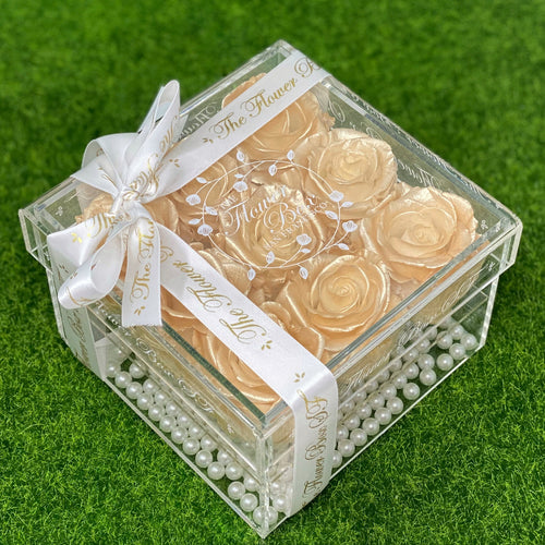 Crystal Flower Box with Pearls - 9 Roses