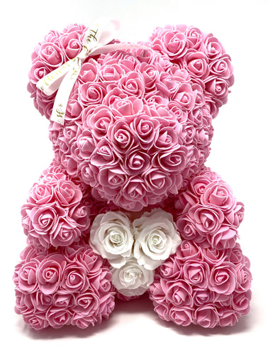 Forever Flower Bear with Real Rose Heart