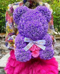 SALE Forever Flower Bear with Real Rose Heart