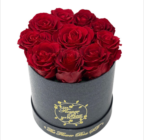 SALE Black Round Logo Flower Box