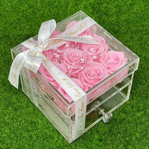 Crystal Flower Box with Drawer and Knob