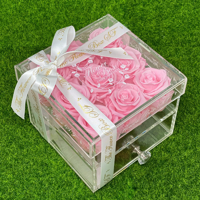 SALE Crystal Flower Box with Drawer - White