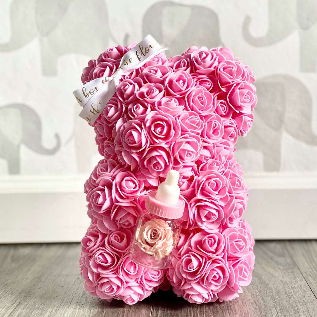 SALE Pink Forever Flower Baby Bear (with or without bottle)