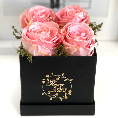 Black Flower Box - 4 Roses