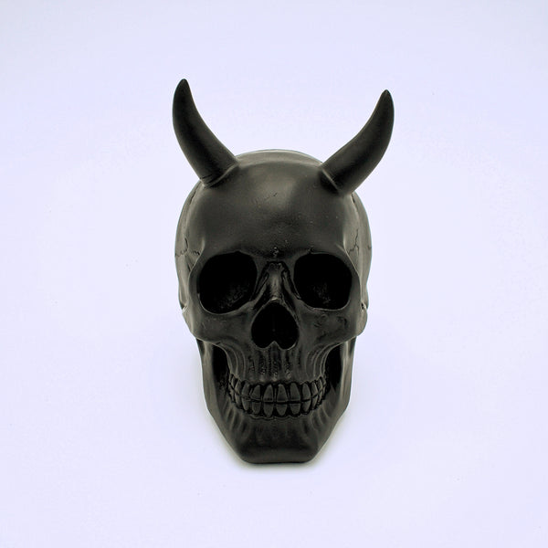 Black Horned Skull Sculpture - The Cranio Collections
