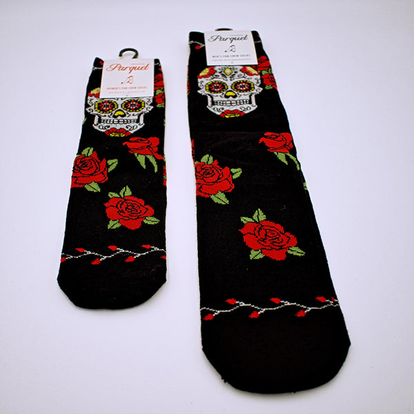 Day of the Dead Sugar Skull and Roses Socks - The Cranio Collections