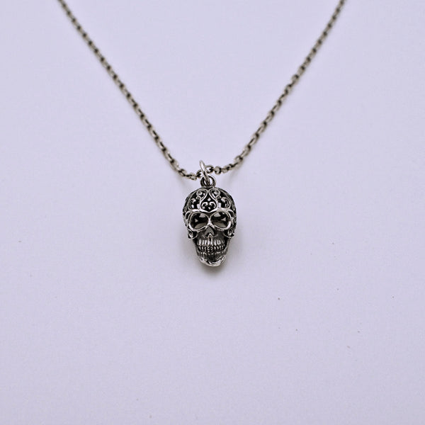 Sterling Silver Filigree Scroll Sugar Skull Charm with Chain - The Cranio Collections