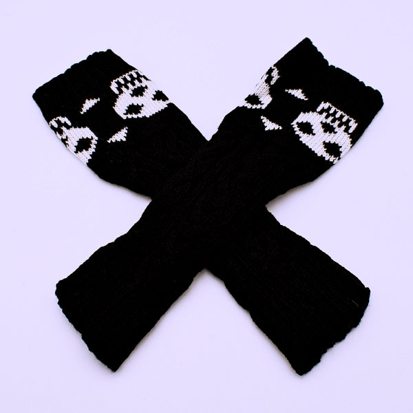 Knitted Skull Fingerless Gloves - The Cranio Collections