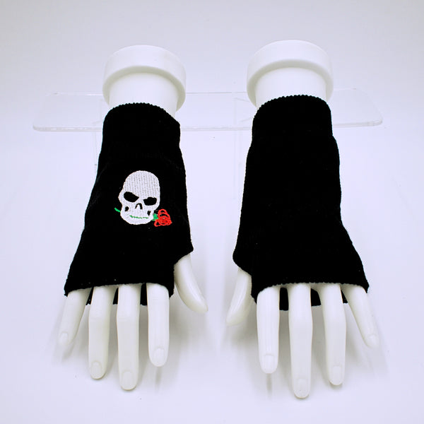 Fingerless Skull and Rose Gloves - The Cranio Collections